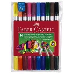 CARIOCI 10 CULORI CU 2 CAPETE - Faber-Castell- varf gros pentru usurinta in desenare;- varf subtire pentru linii fine;- 10 culori intense;- cerneala pe baza de apa si