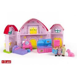 Casa de papusi cu familieeste un cadou minunat pentru fetitele grijulii si interesate de cresterea propriilor familii in miniatura Setul contine 1 casa de papusi 2 piese de bucatarie 2 piese de dormitor 4 piese care compun membrii familieiDimensiune ambalaj465 x 355 x8 cm