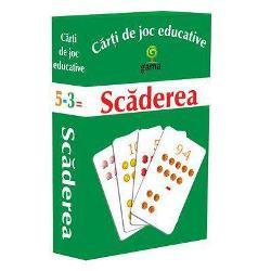 Pachetul con&539;ine·10 de carduricu numerele de la 1 la 10; ·40 de carduricu sc&259;deri care au ca rezultat numerele de la 1 la 10Scopul jocului este familiarizarea cu opera&539;ia de sc&259;dere &537;i rezolvarea de sc&259;deri simple