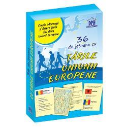 Jocul con&539;ine - 28 de jetoane cu &539;&259;rile Uniunii Europene - 4 jetoane cu informa&539;ii despre Uniunea European&259; - 4 jetoane cu &539;&259;rile din afara Uniunii Europene
