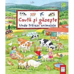 Marea c&259;utare distractiv&259; pentru micii iubitori de animaleCartea ilustrat&259;Unde tr&259;iesc animalele având coper&355;ile &351;i paginile de interior cartonate se adreseaz&259; copiilor de peste 2 aniPersonajele principale ale povestirii Matei &351;i Laura îi invit&259; pe copii în vizit&259; la o ferm&259; într-o plimbare prin parc într-o drume&355;ie pe c&259;r&259;ri de munte &351;i în