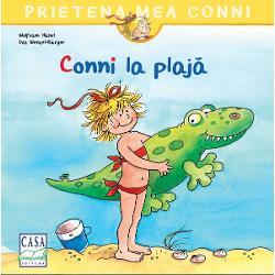 Conni este în vacan&539;&259; la mare Desigur Conni nu merge singur&259; la plaj&259; ci înso&539;it&259; de mama &537;i tata &536;i de crocodilul ei mare &537;i verde din plastic Fridolin Dar marea este periculoas&259; pentru crocodili