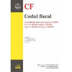 Codul fiscal Cu modificarile aduse prin Legea nr 1112018 OUG nr 632018 Legea nr 1452018 Legea nr 1982018 si Legea nr 2032018Editia a 4-a actualizata la 9 septembrie 2018Contine- Hotarari prealabile- Legislatie conexa- Index