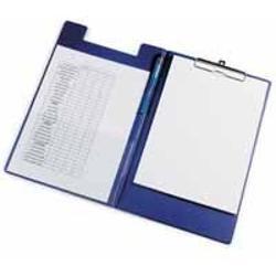 Clipboard dublu A4 pvcbleumarin KF01301Clipboard dublu A4 Realizat din carton gros laminat cu folie PVC de 160 microniDispune de un suport tip bucla pentru stilou sau pix si un buzunar triunghiular intern din plastic transparentCapacitate 50 coli 80