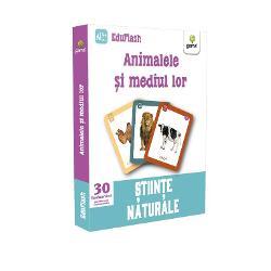 """Pachetul """"Animalele &537;i mediul lor"""" con&539;ine 30 de flashcarduri cu animale împ&259;r&539;ite pe categorii colorate distinct în func&539;ie de mediul de via&539;&259; Iconi&539;ele v&259; ajut&259; s&259; face&539;i clasific&259;ri suplimentare dac&259; animalul este domestic sau s&259;lbatic dac&259; tr&259;ie&537;te în vizuin&259; sau în scorburi etc Imaginea de pe verso îl"""