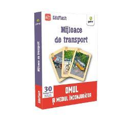 """Pachetul """"Mijloace de transport"""" con&539;ine 30 de flashcarduri cu mijloace de transport Pe fiecare flashcard ve&539;i g&259;si pictograme cu ajutorul c&259;rora pute&539;i face clasific&259;ri în func&539;ie de tipul sau rolul fiec&259;rui mijloc de transport &537;i de mediul în care circul&259; Denumirile sunt trecute pe versoul cardurilor"""