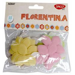 15 bucati flori; material textil; dimensiuni 6cm