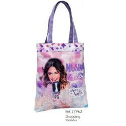 Geanta shopping pentru fetiteColectia Violetta Confectionata din material poliester si PVC 1 compartiment manere dimensiuni 30x36x5 cmBrand Disney