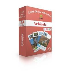 Pachetul con&539;ine50 de carduri cu vehicule Scopul jocului este înv&259;&539;area vehiculelor &537;i clasificarea lor în patru categorii de transportterestru feroviar aeriansaumaritim &537;i fluvial