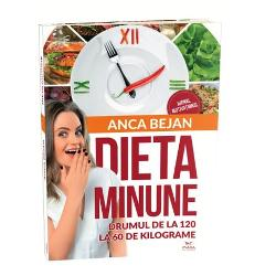 """In 4 ani s-a ingrasat 60 de kilograme si in 2 ani a reusit sa slabeasca la loc fara eforturi fara sa renunte la alimentele preferate si fara sa apeleze la medicamente sau interventii chirurgicale Toate secretele acestei reusite sunt povestite intr-o carte-eveniment menita sa revolutioneze multe preconceptii despre nutritie """"Dieta-Minune"""" nu e o dieta nu contine liste cu alimente interzise nici meniuri prestabilite sau tabele cu calorii ori diagrame cu niste combinatii"""