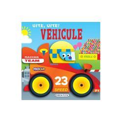 O carte cu pagini cartonate ideala pentru cele mai mici manuteCei mici vor decoperi primele informatii despre vehicule in texte scurte cu scris de tipar si pagini viu colorate