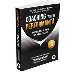 Coaching pentru performanta este biblia industriei si cu siguranta lucrarea de referinta pe care se bazeaza cei care sunt implicati in activitati de coachingCartea prezinta un sablon simplu de coaching pentru traineri plecand de la concepte precum constientizare si responsabilizare unul care se bazeaza pe metoda intrebarilor si a abilitatii de a asculta Whitmore ne introduce in teoretizarile modelului G R O W ca format pentru sedintele de trainingSpre deosebire