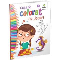 """""""Cartea de colorat cu jocuri""""con&539;ine desene care se vor revela dup&259; unirea punctelor din conturFormatul mare &537;i catrenele amuzante fac coloratul mult mai distractiv &537;i interesant"""