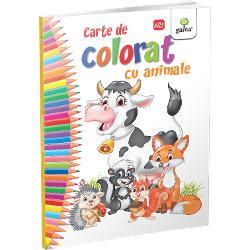 """""""Cartea de colorat cu animale""""încurajeaz&259; copilul s&259; coloreze cele mai simpatice animale domestice &537;i s&259;lbaticeFormatul mare desenele cu contururi precise &537;i catrenele amuzante fac coloratul mult mai distractiv &537;i interesant"""