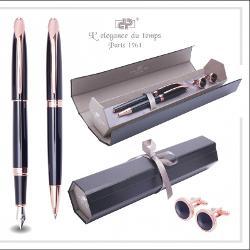 Set pix si stilou negru fildes + BUTON cu PIATRA NEGRU CRISTAL , accessorii roz gold, carcasa neagra cu interior gri DPC-16-4618