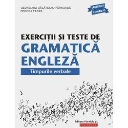 Exerci&539;ii &537;i teste de gramatic&259; englez&259; trateaz&259; pe larg timpurile verbale din limba englez&259; present &537;i present perfect timpurile trecute modalit&259;&539;ile de exprimare a viitorului vorbirea indirect&259; Fiecare capitol con&539;ine exerci&539;ii de formare a timpurilor verbale &537;i de utilizare a acestora &238;n diverse contexte exerci&539;ii recapitulative &537;i teste Partea de final a volumului este