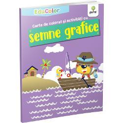 Cartea de colorat &537;i activit&259;&539;i cu semne graficeurm&259;re&537;te dezvoltarea motricit&259;&539;ii fine a copilului &537;i preg&259;tirea lui pentru scris într-un mod amuzant care s&259;-l captivezeColec&539;ia EduColoreste destinat&259; pre&537;colarilor &537;i urm&259;re&537;te îmbinarea activit&259;&539;ilor de