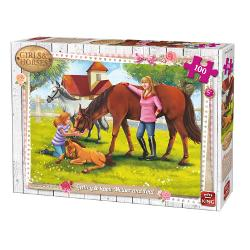 Puzzle 100 piese Getting To Know Mother And FoalIn cazul in care iubesti animalele si in special caii in mod sigur vei adora sa asamblezi acest puzzle superbDimensiuni puzzle244x177 cmDimensiuni cutie 255x19x45 cm