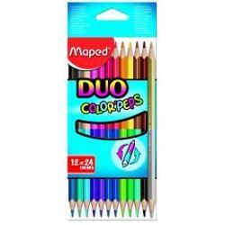 creioane colorate Maped 12bucset DUO 24culori    corp triunghiular pentru scriere confortabila