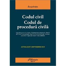 Codul civil Codul de procedura civilareuneste textele la zi ale celor doua legi in vigoare in materie civila si de procedura civila oferind o baza teoretica de studiu practicienilor cadrelor didactice studentilor dar si tuturor celor implicati in interpretarea si aplicarea acestor dispozitiiLa finalul fiecarui articol al celor doua coduri sunt indicate cu caractere italice textele corespondente din actele normative care au fost abrogate si al