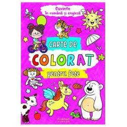 Cartea de colorat pentru fete ajuta la dezvoltarea abilitatii manuale  stimuleaza imaginatia  imbogateste vocabularul identificarea obiectelor si invatarea culorilor  dezvolta concentrareaCartea contine 96 de pagini cu imagini simple de mari dimensiuni cu contur gros destinate micutilor incepatori intr-ale coloratului Pot colora cu creioane sau chiar cu pensula paginile fiind suficient de groase