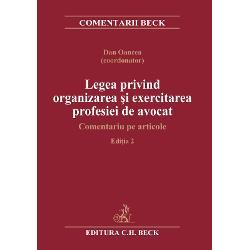 Edi&539;ia a 2-a aLegii privind organizarea &537;i exercitarea profesiei de avocatcuprinde analize valoroase ale articolelor recent modificate din Legea nr 511995 modific&259;ri aduse prin Legea nr 462019 &537;i Legea nr 1422019 precum &537;i aleStatutului profesiei Analiza are în vedere &537;i prevederile Codului deontologic al avoca&539;ilor din Uniunea European&259; prin care este stabilit rolul social al