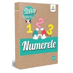 """Flashcardurile din colec&539;iaRETROdemonstreaz&259; c&259; materialele educative pot fi &537;i frumoase Cele 28 de cartoane ilustreaz&259; delicat numerele de la 1 la 20 &537;i zecile de la 30 la 100 Pe verso sunt tot atâ&539;ia elefan&539;i câ&539;i indic&259; num&259;rul împreun&259; cu versuri adaptate ale cântecului """"Un elefant se leg&259;na"""""""
