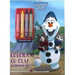 """Olaf e un omulet de zapada aparte Alatura-te acestui personaj vesel si """"racoreste-te"""" cu o portie zdravana de distractie Descopera regatul Arendelle rezolva activitatile si coloreaza imaginile cat mai frumos"""