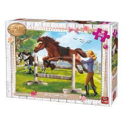 Puzzle 100 piese Jumping TimeIn cazul in care iubesti animalele si in special caii in mod sigur vei adora sa asamblezi acest puzzle superb&160;Dimensiuni puzzle244x177 cmDimensiuni cutie 255x19x45 cm