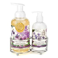 MDW Set crema si sapun maini Liliac and Violets CAD286Set sapun lichid si crema de maini in suport metalicAromaliliac salbatic si violete proaspete Sapun lichid spumaSapunul contine aloe vera si este imbogatit cu unt de sheaCatifeleaza si hidrateaza pieleaGramaj530