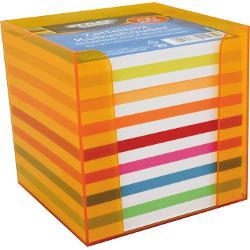 Cub de hartie color cu support din plastic coloratContine 700 coli hartieFormat 96x96x96xmm