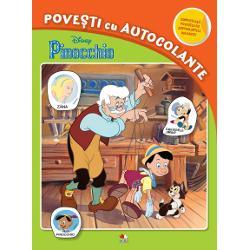 Lipe&537;te autocolantele completeaz&259; povestea despre simpaticul Pinocchio &537;i înva&539;&259; s&259; cite&537;ti
