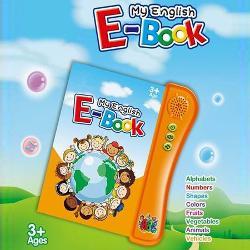 My English E-book este o carte interactiva in limba engleza cu sunete3 baterii AA incluse cu ajutorul careia copiii pot invata alfabetul numerele formele culorile fructele legumele animalele vehiculele adunarea si scaderea Fiecare imagine in parte este reprodusa audio cuvant cu cuvant sau pe litere La sfarsitul fiecarei lectii cartea poate pune intrebari iar utilizatorul poate raspunde apasand pe imaginea corespunzatoare In cazul in care raspunsul nu este corect se reia