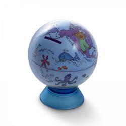 Diametru 11 cmMini glob pamantesc cu functie de pusculita pentru bani destinat copiilor Harta ilustrata cu suport din plastic fara iluminare