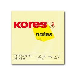 Notite adezive Kores 75 x 75 mm galben 100 file