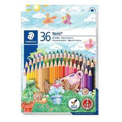 Creioane colorate Staedtler Noris 36 culori  setCorp lemn in forma de hexagonPrimele creioane coloratecu un sistem integrat anti-Break-System ABS-antirupereUsor de ascutit cu orice ascutitoare de calitate