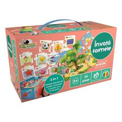 Prezentare 2 puzzle-uri de asamblat 12 obiecte de identificat 12 forme de invatat Gaseste imaginile din puzzle-ul cu forme in puzzle-ul cu loc de joacaInvata formele denumirile lor cum sa le recunosti si unde le gasestiAi doua puzzle-uri de asamblat unul cu forme denumirile lor si obiecte in care se regasesc; si unul ce reprezinta un loc de joaca In puzzle-ul cu loc de joaca sunt raspandite toate obiectele din puzzle-ul cu formePoti sa le