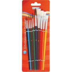 Set 10 pensule  Contine 10 pensule cu corp din lemn vopsit  6 rotunde nr 1-2-3-4-6-10 si 4 plate nr 6-8-10-12 Ambalare 10 pensuleblister carton Produs de TOPPOINT-Germania