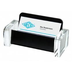 Suport pentru carti de vizita  EXCLUSIVE cu un design exclusivist din  acril transparent combinat cu un negru profund Dimensiune produs 115 cm x 5 cm x 55 cm Ambalat intr-o cutie de cadou din carton atractiva Produs de WEDO-Germania