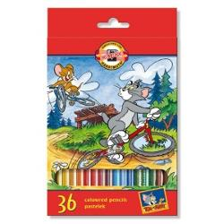 Creioane colorate Tom & Jerry 36 culori High Quality - Ø mina  32mm; Ø creion  7mm; in cutie carton