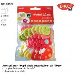 Set decoratiunidin fetru autoadezive de la Daco Art  Contine24 melci flori si ciupercute autoadezivedin pasla 3DDimensiuni variabileSe potrivesc si se combina cu alte articole Daco Artp stylemargin-top 05em;
