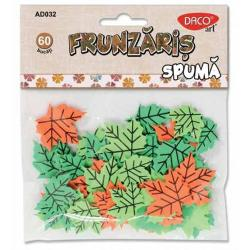 Contine 60 bucati frunze; 3 culori verde deschis verde inchis si portocaliu; pentru diverse activitati de lucru manual
