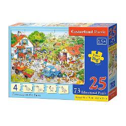 Seria de puzzle-uri educative de la Castorland este perfecta pentru copii miciAceste produse au fost dezvoltate pentru a extinde capacitatile de asociere si inteligenta a copiilorCu acest puzzle invatam sa numarm la fermaDimensiunea puzzle-ului finit este de 45 x 33 cm
