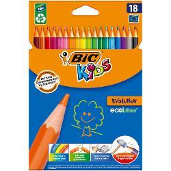 Creioanele colorate BIC Kids Evolution ECOlutions sunt rezistente la soc rezistente la mestecat si nu se sparg daca sunt rupte Cu o manta protectoare ultra-durabila ele pot fi utilizate zilnic si sunt creioanele ideale pentru copii cu varsta de 5 si peste In plus ele sunt fabricate cu ajutorul unor pigmenti de inalt&259; calitate astfel incat umpluturile solide si desenele clare sa devina o sarcina usoara • Pachet de 18 creioane colorate ecologice in culori vesele si