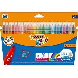Produsele din gama BIC Kids ofera instrumente de coloriaj concepute pentru a oferi copiilor unelte usor de folosit pentru a ii ajuta sa creasca si pentru a le dezvolta creativitatea Markerele de colorat Kid Couleur sunt destinate copiilor cu varsta de 5 sau mai mult de 5 ani pentru micile lor proiecte de colorat de zi cu zi Markerele BIC Kid Couleur vin in 12 culori luminoase pentru desene cu un contrast ridicat care se evidentiaza in pagina Proiectate cu un varf mediu fix care nu poate