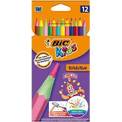Gama de produse BIC Kids ofera instrumente de colorat special concepute pentru a fi usor de folosit de catre copii Creioanele colorate BIC Kids Evolution Circus sunt creioane in nuante vibrante si cu un strop de coloare pe varf dezvoltate pentru a obtine orice combinatie de cukoare la care se gandeste un copil O parada de nuante ai putea spune Culorile lor pigmentate intens sunt ultra-durabile si usor de ascutit pentru o calitate superioara de fiecare data Fabricate la fabricile BIC din