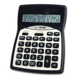 Calculator 16 digits Milan 01616 digits taste din plastic fa&539;&259; metalic&259; alimentare dual&259;;taste memorie radical GT reglare num&259;r de zecimale OFF;dimensiuni 187 x 135 x 25 cm