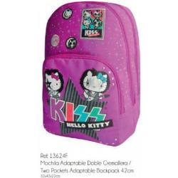 Ghiozdanul Hello Kitty Kiss este foarte practic si incapator avand 2 compartimente principale si unul secundar in partea din fata