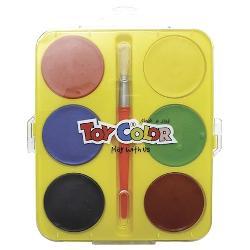 Acuarele Toy Color Jumbo 6 culori Denivelarile de pe tableta de culoare ajuta la uscarea naturala a acestora fara sa diminueze calitatea materialelor utilizate procedeu de fabricatie brevetat Toy Color Pot fi amestecate pentru o paleta de culori extinsa Culori rezistente usor de utilizat Setul contine 1 pensula si 6 culori Se indeparteaza cu usurinta de pe piele si cele mai multe tipuri de tesaturi doar cu apa rece Nu contin gluten; nu provoaca alergii in contact cu pielea sau la