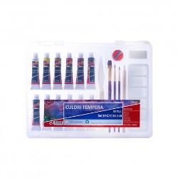 Setul contine12 culori tempera 12 ml tub3 pensule de forma si dimensiune diferita1 creion HBo radierao ascutitoarepaleta plasticcutit picturacutie plastic pentru pastrareprodusul este non-toxic si lavabil